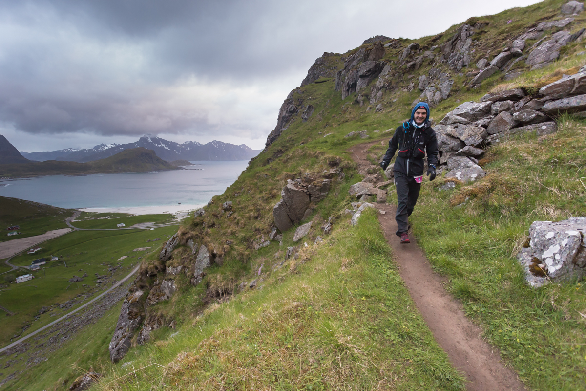 Gøran Rasmussen Åland descends towards Haukland on the historic road coming from Uttakleiv, during the 100 mile race of the Lofoten Ultra Trail 2016.