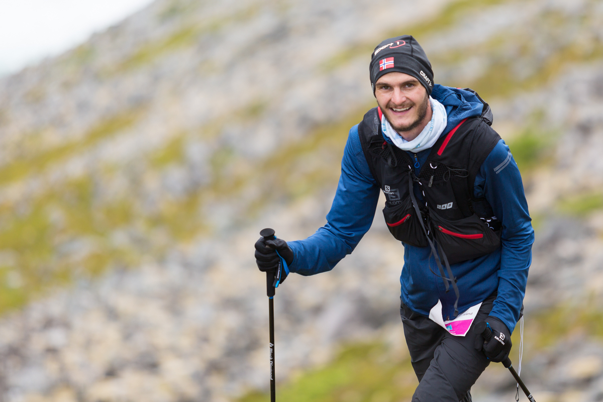 Gøran Rasmussen Åland sporting a smile during the 100 mile race of the Lofoten Ultra Trail 2016.
