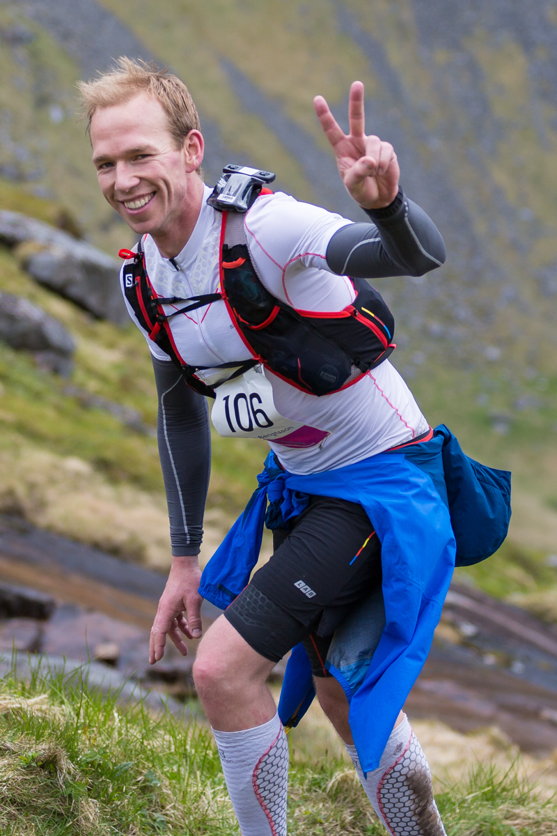 Staffan Bengtsson saying hi. He had to retire from the 100 mile race of the Lofoten Ultra Trail just a few kilometres before the finish line.