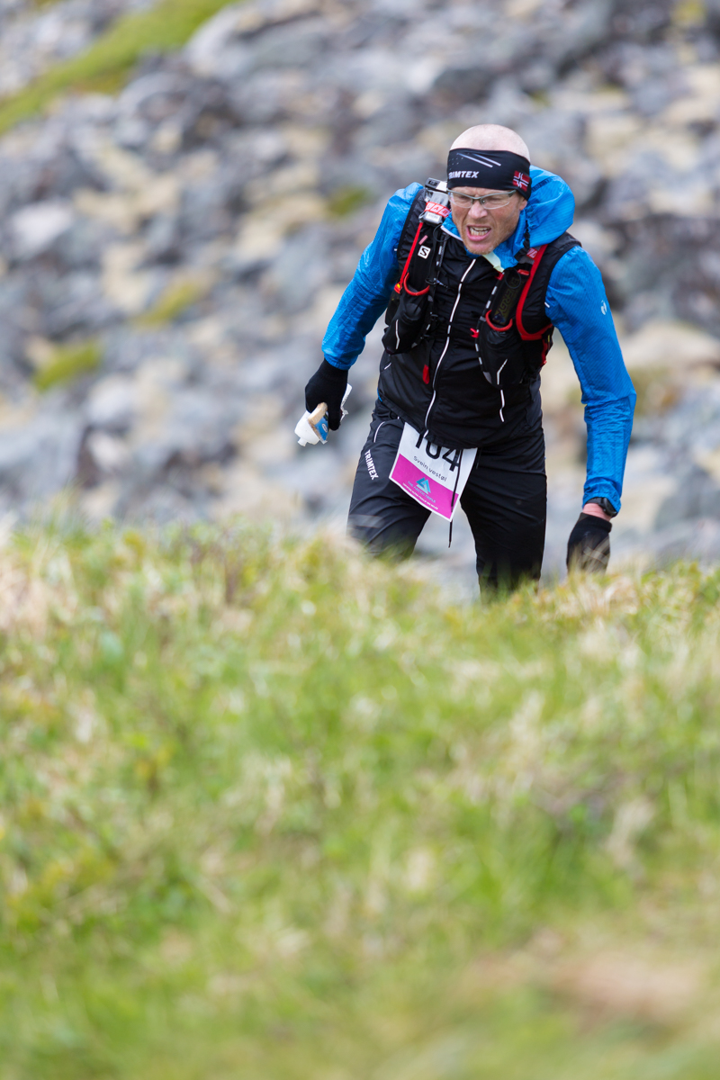 Svein Vestøl giving it all during the 100 mile race of the Lofoten Ultra Trail 2016.