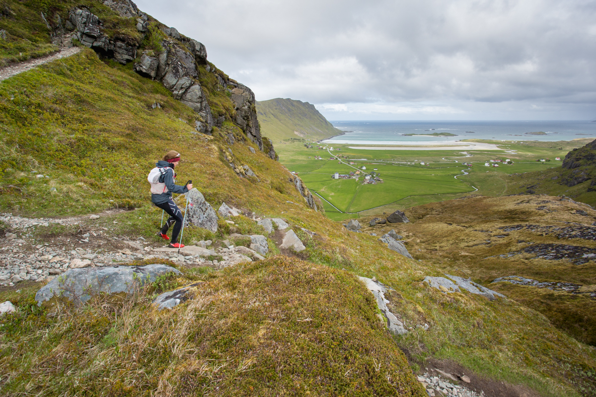 Maria Nordfjell descends towards the small village of Fredvang, during the 100 mile race of the Lofoten Ultra Trail 2016.