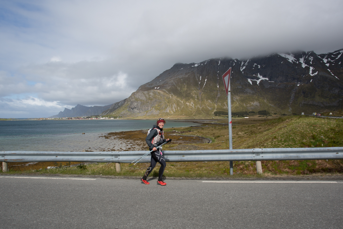 Maria Nordfjell takes the time to wink at the photographer during the 100 mile race of the Lofoten Ultra Trail 2016.