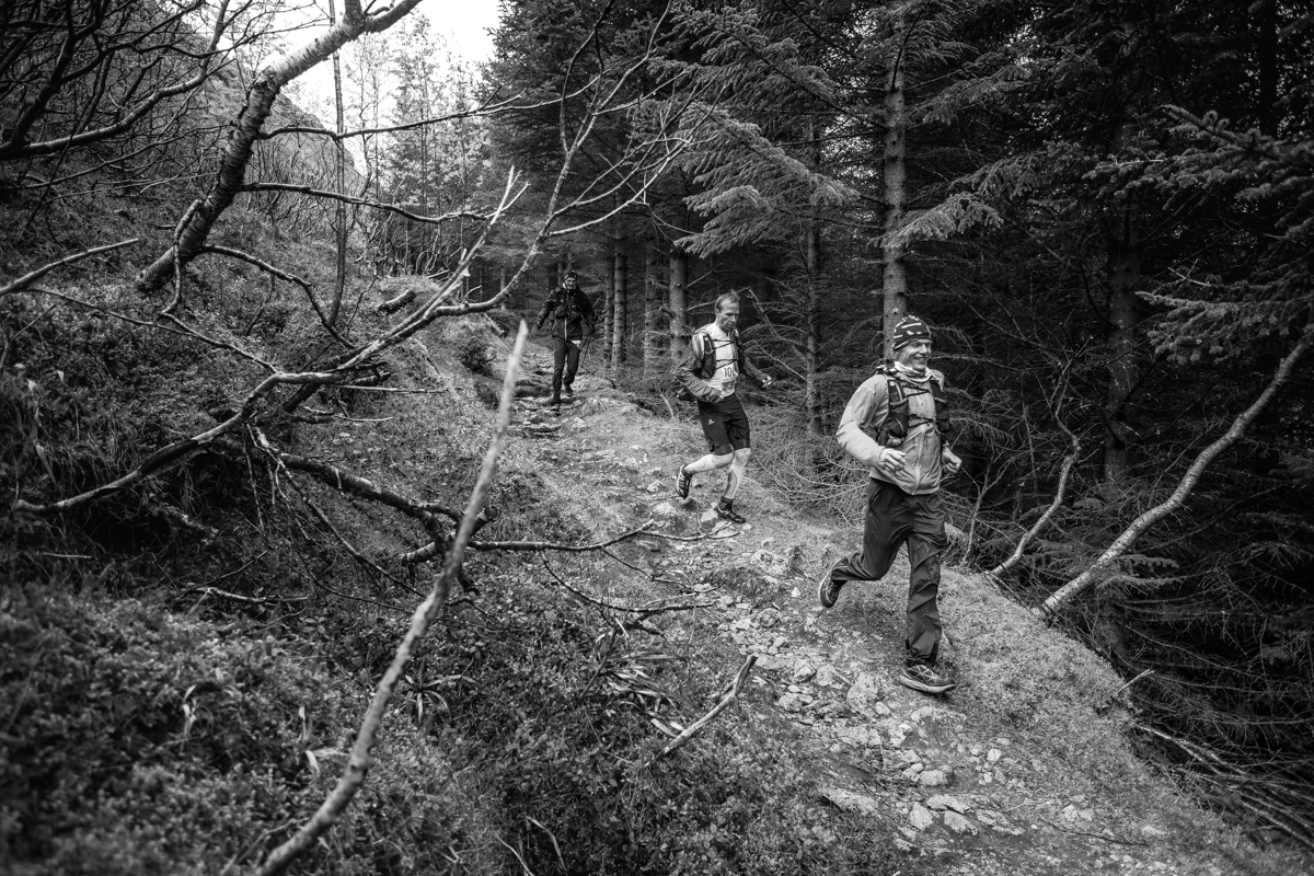 Hallvard Schjølberg, Staffan Bengtsson and Gøran Rasmussen Åland (from right to left) run through the woods between Nusfjord and Kilan during the Lofoten Ultra Trail 2016.