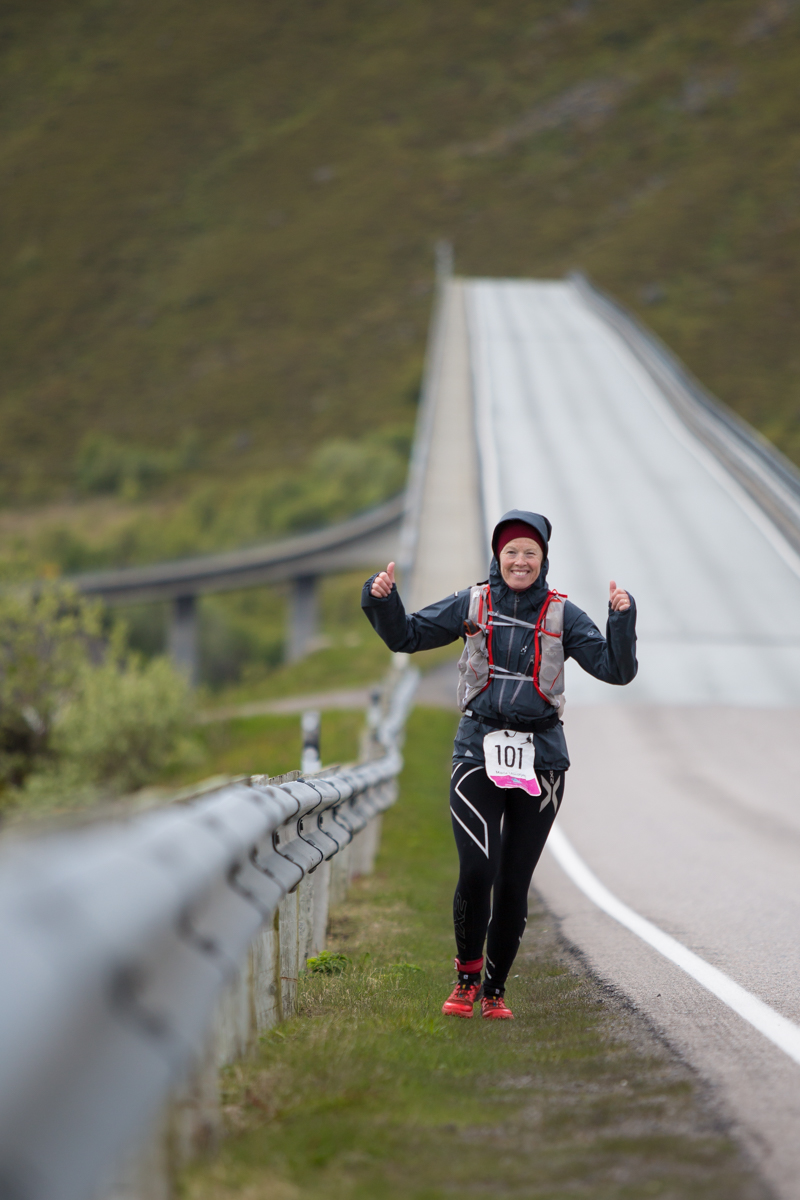 Maria Nordfjell and her contagious smile. Lofoten Ultra Trail 2016.