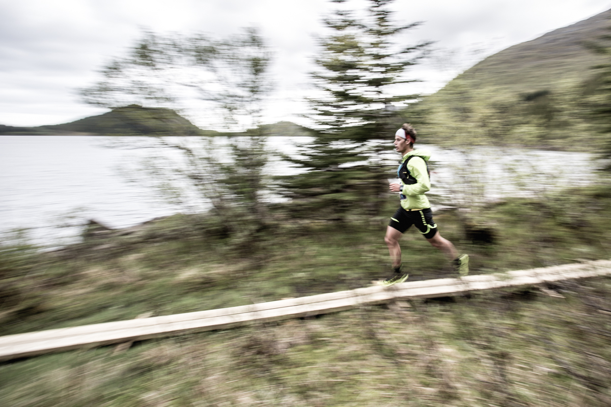 Rolf Einar Jensen, winner of the 24 km men's race of the Lofoten Ultra Trail 2016, runs the last kilometres of the trail.